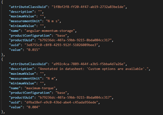 Snippet of the underlying data representation in JSON that powers satsearch