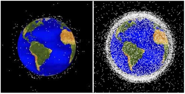 Space debris in 1968 vs 2018