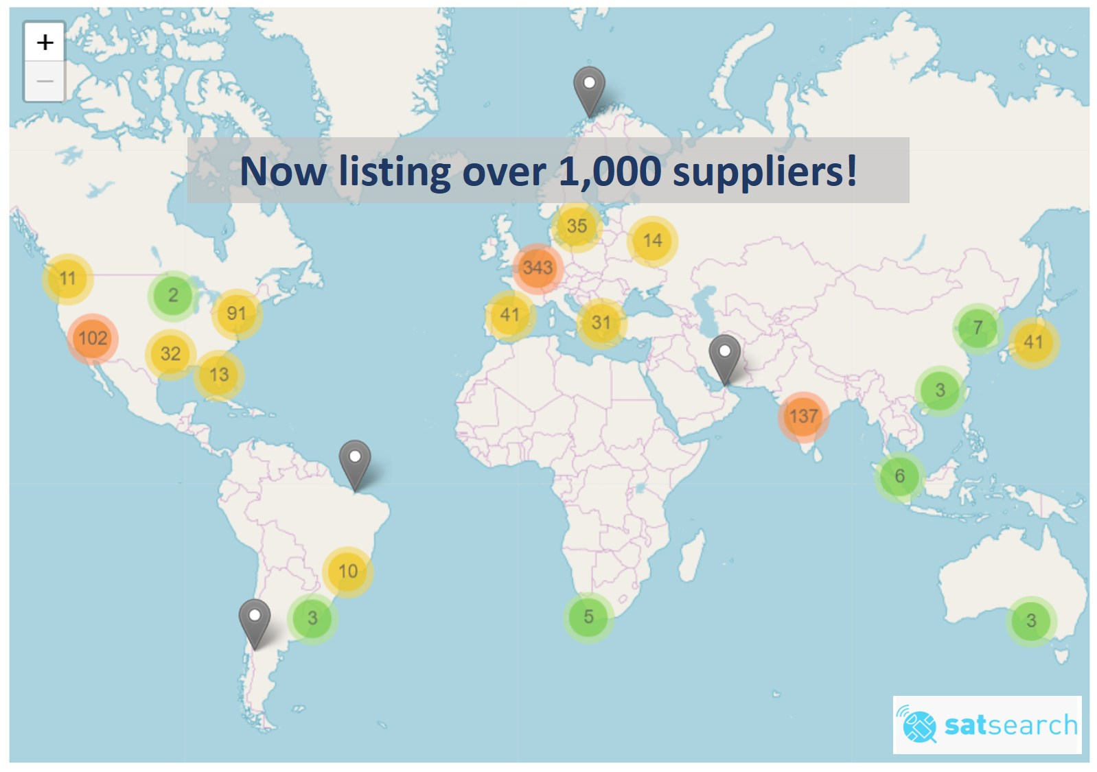 The satsearch supplier map